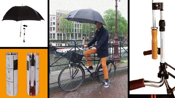 Een paraplu standaard voor de fiets. Met een grote wit gebied, zodat het heel goed kan worden gedrukt! Hierdoor is het uitgegroeid tot een uitstekend promotiemiddel giveaway.   Van nu af aan altijd beide handen aan het stuur en nog steeds droog blijven. Werkt ook prima als parasol tegen de zon!  De Cycletop is zeer eenvoudig te bevestigen aan de fiets en wordt geleverd in een doos met instructies.