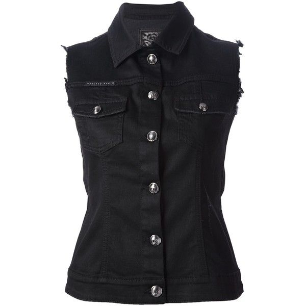 See this and similar Philipp Plein jackets - Black cotton-blend sleeveless denim jacket from Philipp Plein featuring a classic collar, a front button fastening,...