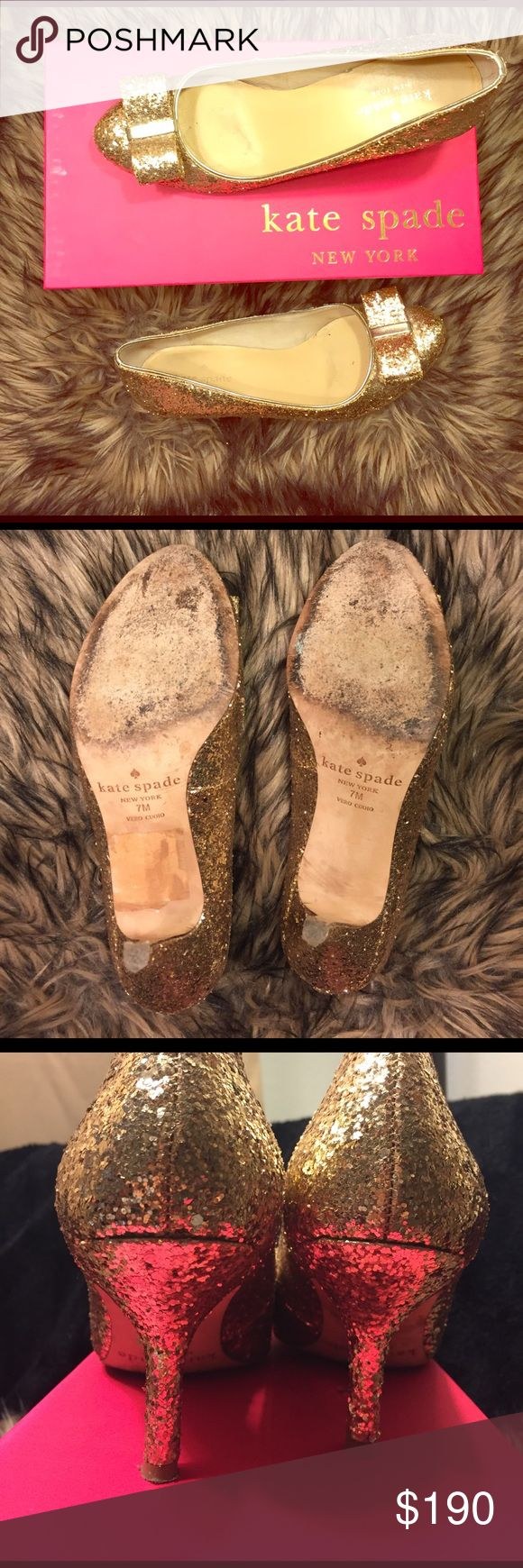 MOVING SALEkate spade Heels Wonderful for special occasions! For the gal who loves some extra glam! Worn a couple of times however that only reflects on the soles of the shoe. Glitter is all still in tact. Bow on the front toe side. Size 7. Small heel about 3 inches. With box kate spade Shoes Heels