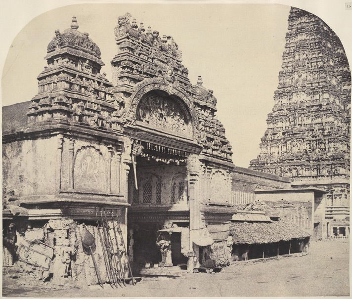 """""""The Great Pagoda. Entrance to the Temple of Minakshi in the Great Pagoda [Minakshi Sundareshvara Temple, Madurai],"""" a photo by Linnaeus Tripe, 1858"""