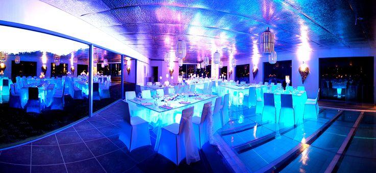 Wedding themes #blueillusion #poolfloor #modernglam  at Glen Albyn Estate #glenalbynestate