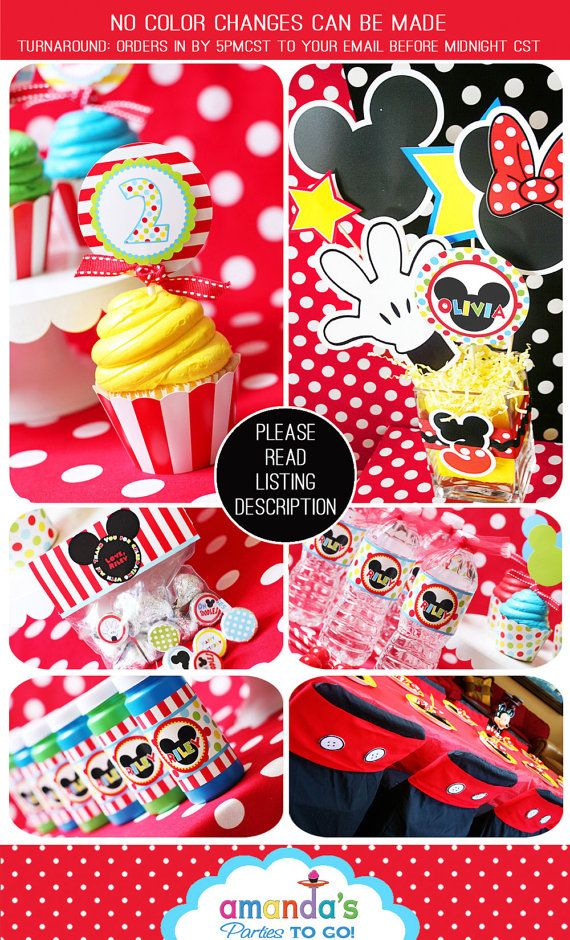 Mickey Mouse Clubhouse Party Printable Birthday - Inspired by Mickey Mouse - HUGE Party Set by Amanda's Parties TO GO