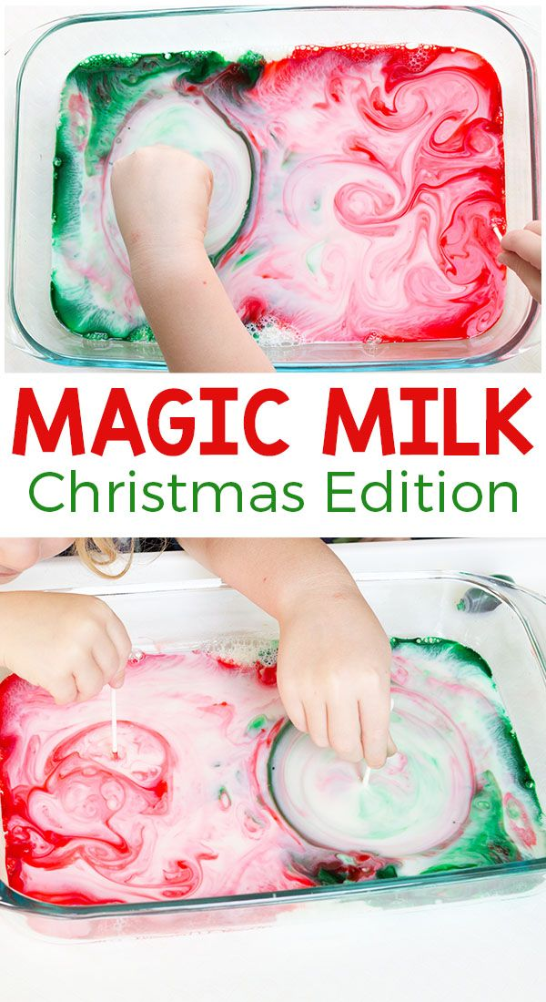 This Christmas magic milk science experiment is so awesome! Add a holiday spin to this classic science activity for kids and they are sure to have a blast! via @danielledb