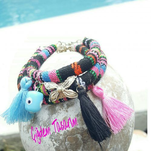 Multicolor Three-Piece Bracelet Set with Pink, Blue, Black Tassels, Silver-Plated Flower Charm & Glass Evil Eye. Chiki Design