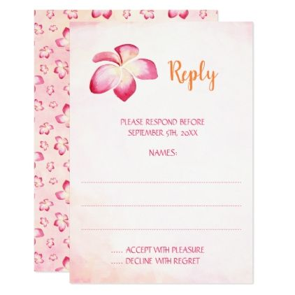 Sunset Plumeria Wedding Reply Cards - wedding invitations diy cyo special idea personalize card