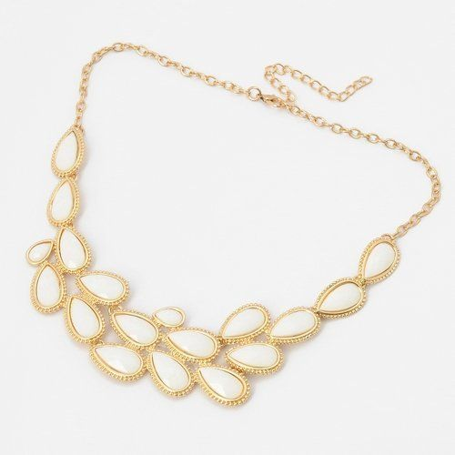 Fashion Golden Chain Jewelry White Resin Leaf Adorned Pendant Necklace ComeOnBuying. $5.99