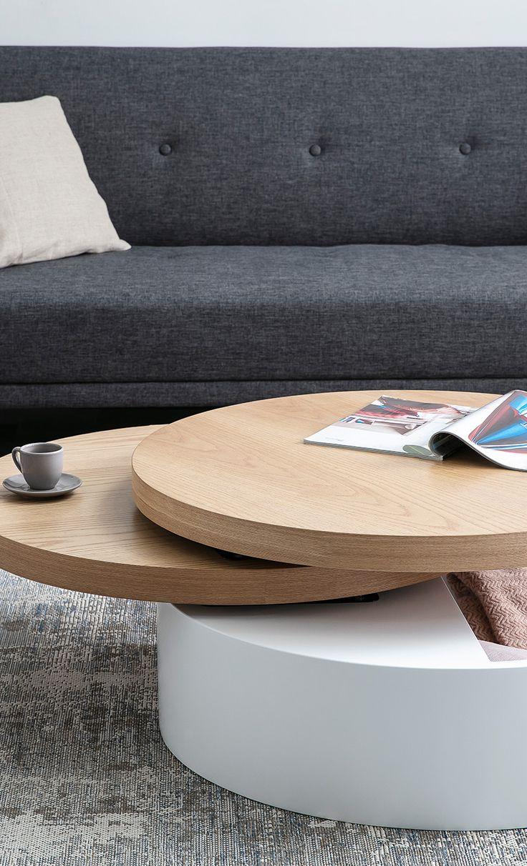 Table basse ronde avec plateaux pivotants et rangement blanc et bois ICON en 2020 (avec images ...