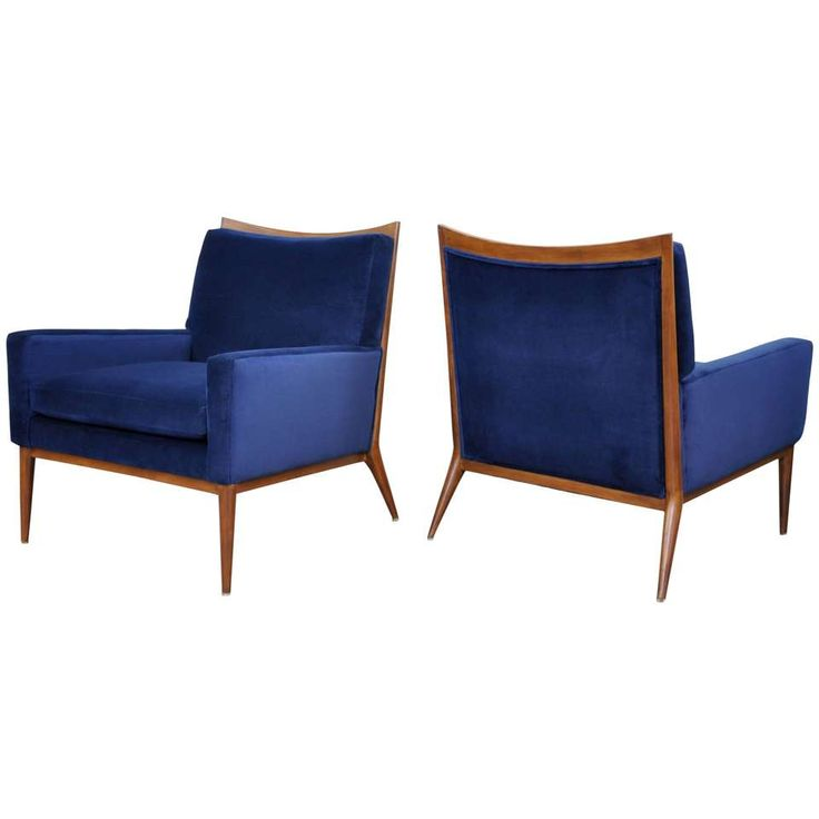Pair of Paul McCobb for Directional Blue Velvet Lounge Chairs 1