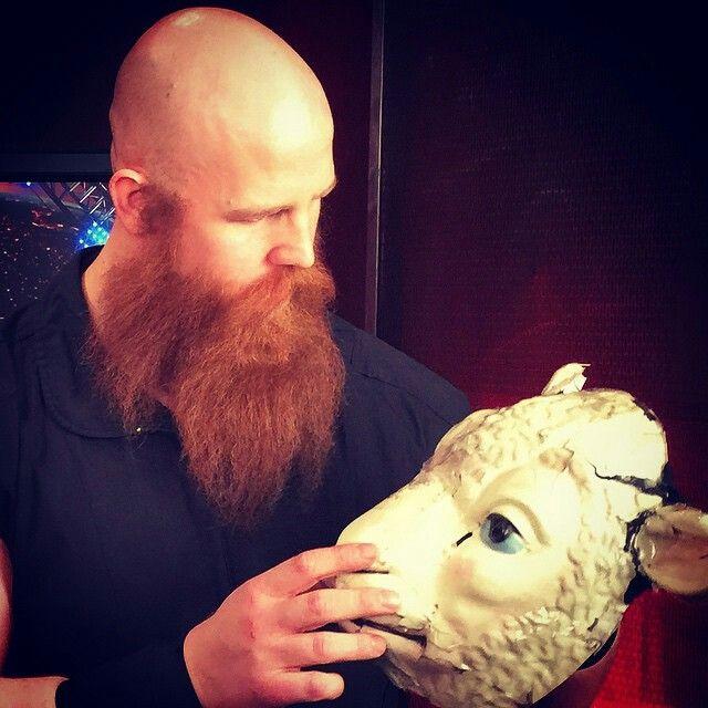 Erick Rowan with his sheep mask