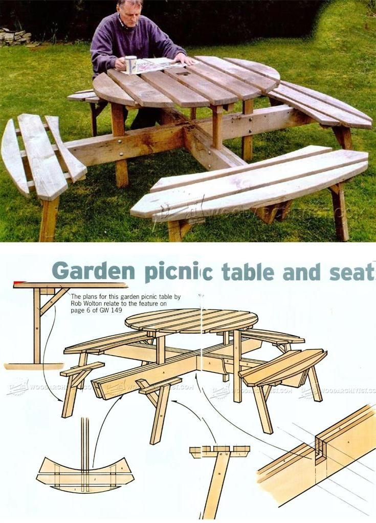 Circular Picnic Table Plans - Outdoor Furniture Plans & Projects   WoodArchivist