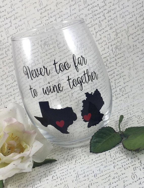 Never Too Far To Wine Together Stemless Wine Glass-Best Friend Gift-Gift For Relatives-Gift For Family-States-Customized-Friend Gifts