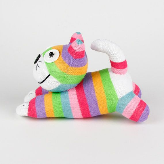 Chaussette à la main Cheshire Cat Kitty par supersockmonkeys                                                                                                                                                     Plus