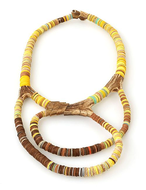 Silke Spitzer Necklace: Yellow, 2014 Dearhead, wood, plastic, linnen