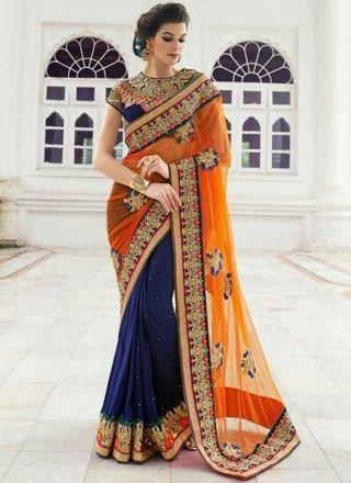 Urbane Orange And Blue Net With Georgette Designer Half N Half Saree http://www.angelnx.com/Sarees/Wedding-Sarees