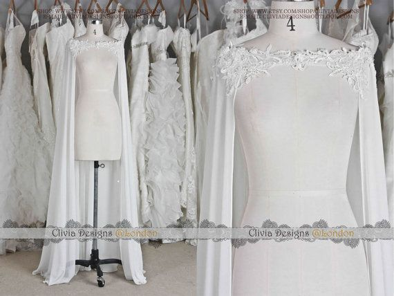 Beaed Lace Chiffon Floor-length Wedding Cape, Wedding Bolero, Wedding Wrap,Wedding Shrug, Wedding Jacket J502