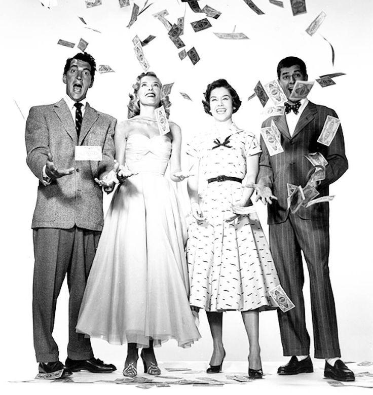 "deanmartinandjerrylewis: ""Goodnight with Dean Jerry Marjie Millar and Pat Crowley in a publicity still for 'Money From Home' 1953.   Credit: thrillingdaysofyesteryear.blogspot.com #DeanMartin #JerryLewis #MartinandLewis #MarjieMillar #PatCrowley #OldHollywood #ClassicHollywood #GoldenEra #GoldenAge #MoneyFromHome #1950s #1953"""