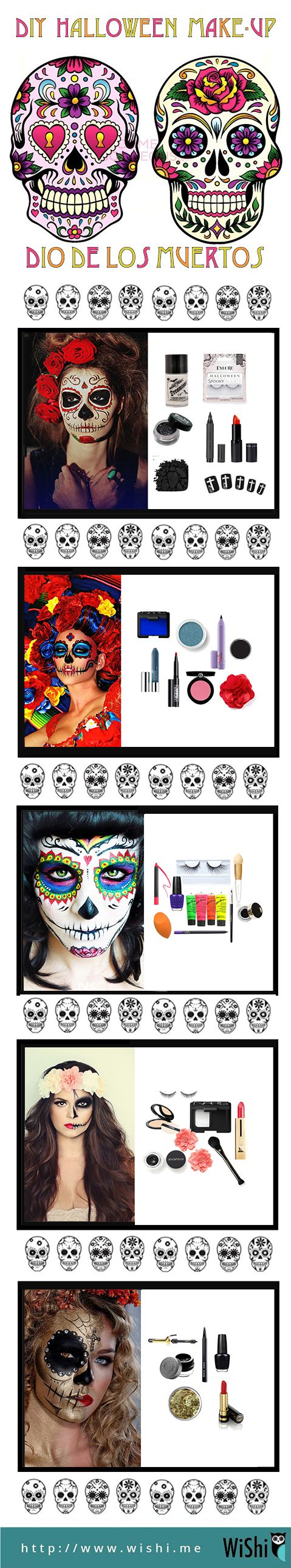 Fun makeup guide for what you'll need to do Dia de los Muertos / Halloween makeup.