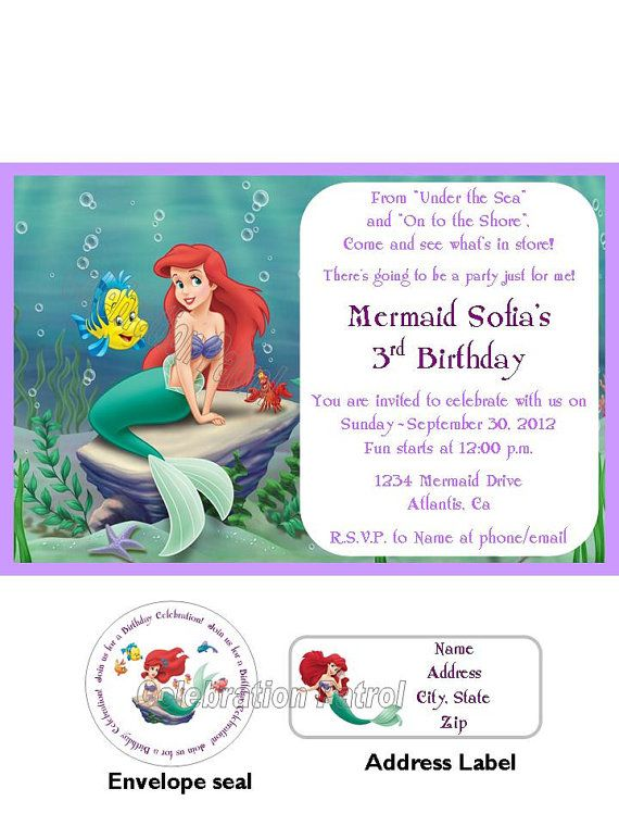 Best Whits Th Bday Ariel Party Images On Pinterest - Custom ariel birthday invitations