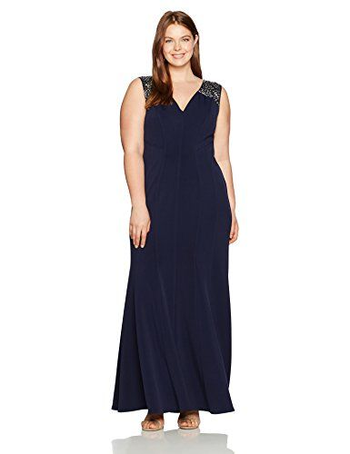 Alex Evenings Women's Plus Size Long Fit and Flare Dress with Beaded Illusion Straps only for - http://howto.hifow.com/alex-evenings-womens-plus-size-long-fit-and-flare-dress-with-beaded-illusion-straps-only-for/