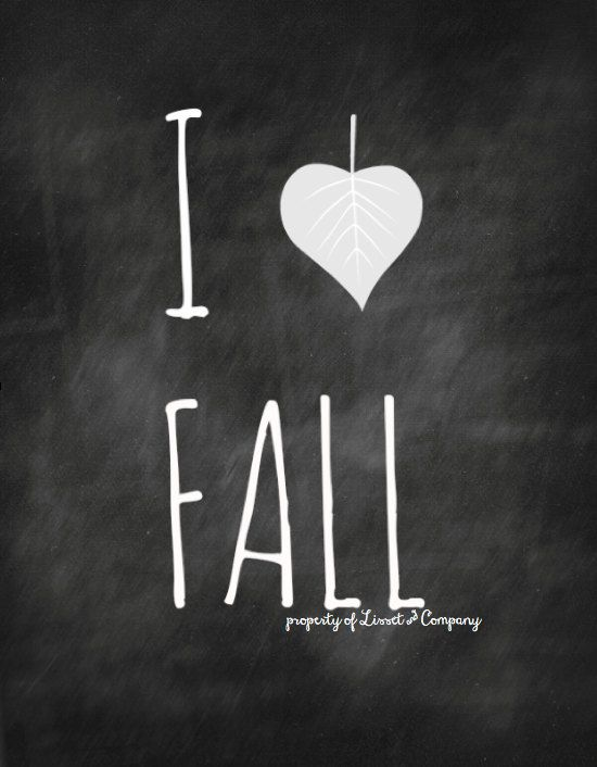 I Love Fall Chalkboard Style Instant Download