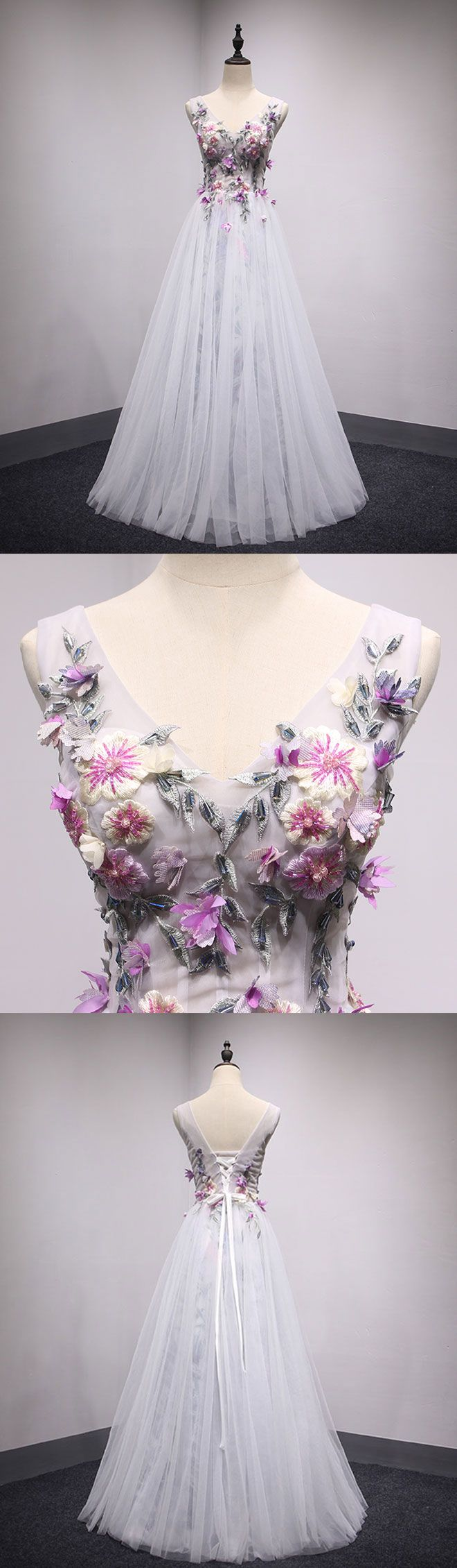 White v neck tulle long prom dress, formal dress