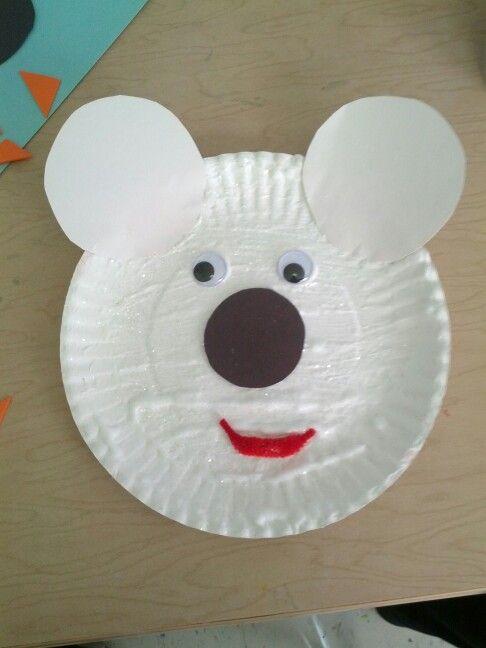 paper plate polar bear face  made w shaving cream and glue