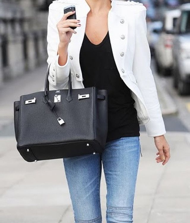 wearing black hermes birkin bag