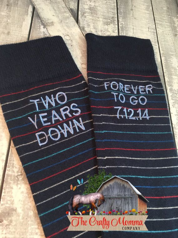 Anniversary Socks  cotton  second anniversary by TheCraftyMommaCo