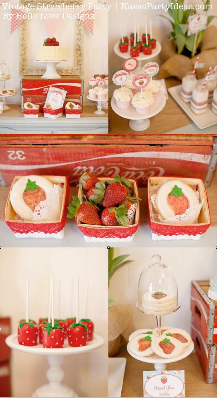 Vintage Strawberry + Strawberry Shortcake themed birthday party via Karas Party Ideas.com #vintage #strawberry #birthday #party #shortcake #themed #girl #1st #baby #shower #planning #ideas #cake #idea #decor
