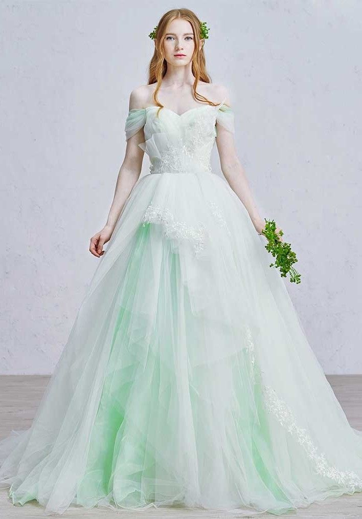 Romantic Off The Shoulder Corset Embellished Appliques Layered Mint Green Tulle Ball Gown Prom Quinceanera Dress Green Wedding Dresses Ball Gown Wedding Dress Colored Wedding Dresses