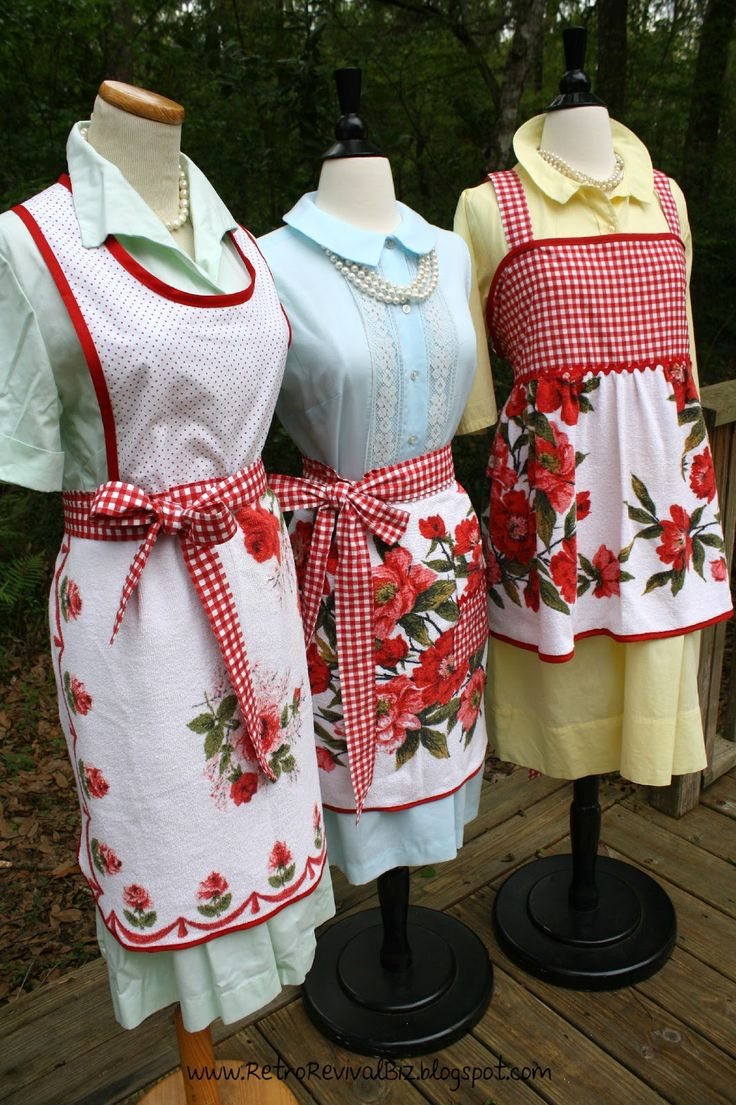 Vintage red and white aprons
