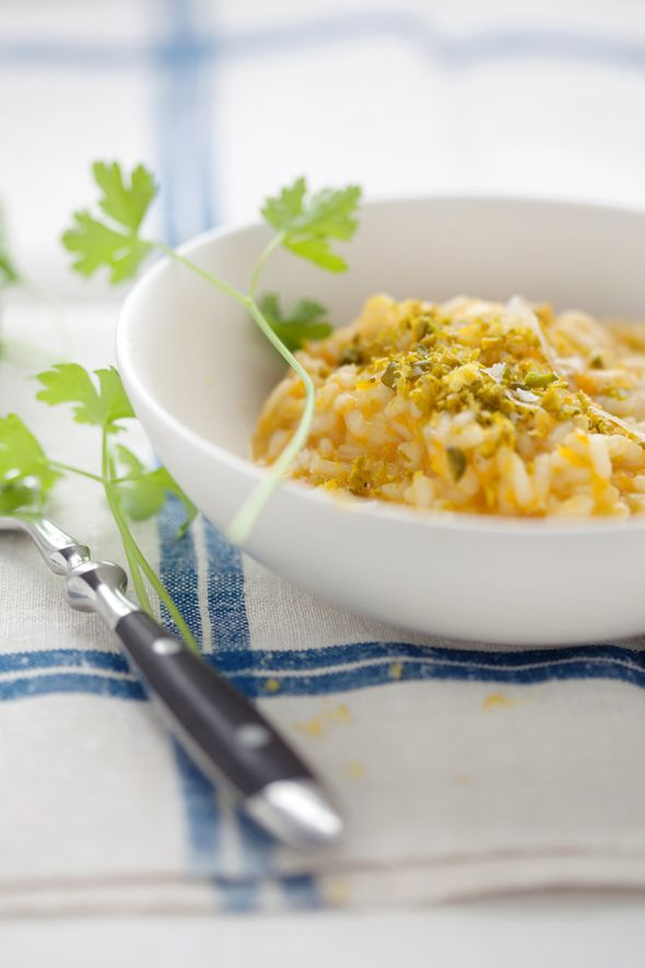 Butternut Squash Risotto with Pistachios and Lemon