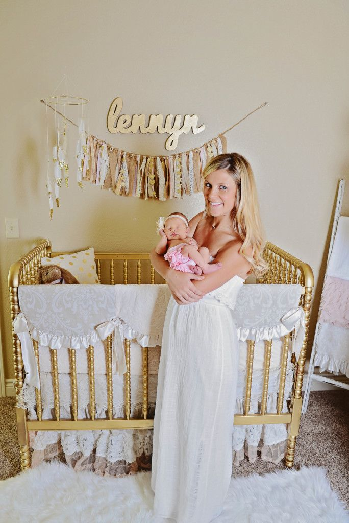 Jenny Lind Crib Painted Gold - Fun DIY project for a baby nursery.The bedding is perfect too.