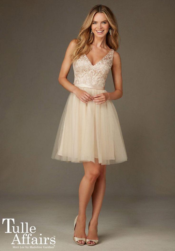Mori Lee Tulle Affairs 133 V Neck Short Bridesmaid Dress