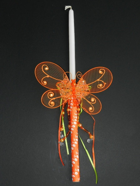 Easter Candle Orange Butterfly by pinelopiCreations on Etsy, $15.00