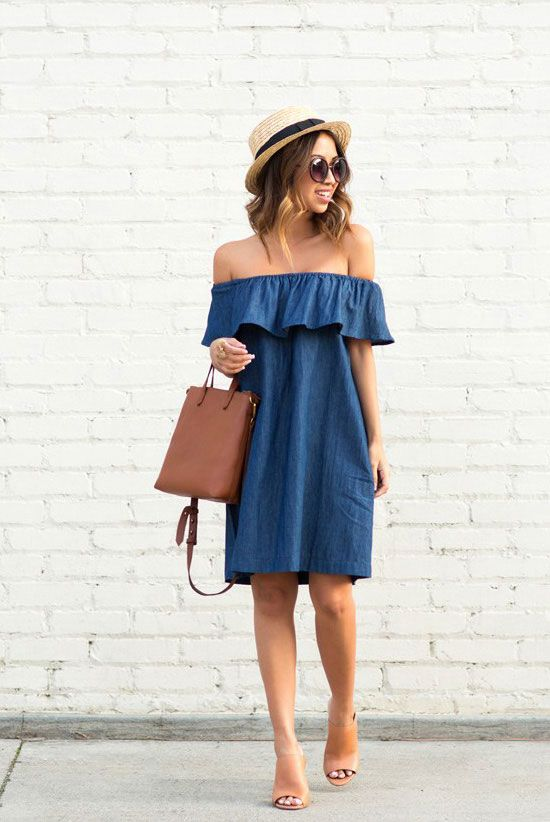 summer outfits - 30 Summer Outfits To Rock This Spring Break: Fashion Blogger 'Lace & Locks' wearing a straw boater hat, a denim off shoulder dress, nude sandals, brown sunglasses and a brown shoulder bag