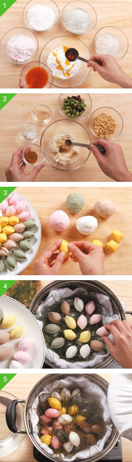 how to make Korean songpyeon (traditional Korean rice treats)- I'm guessing it's a little bit more difficult than that