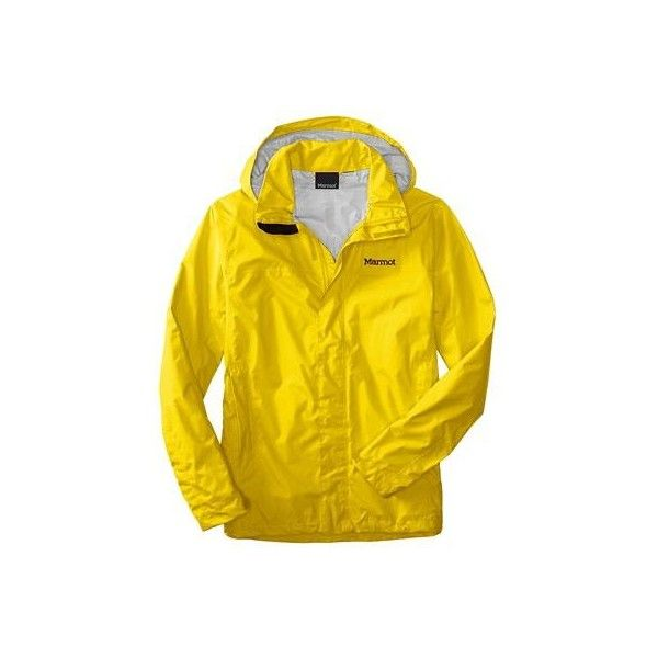Marmot PreCip Jacket ($99) ❤ liked on Polyvore featuring men's fashion, men's clothing, men's activewear, men's activewear jackets and yellow vapor