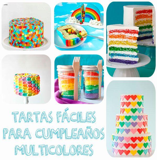 Tartas fáciles de cumpleaños llenas de color                                                                                                                                                      Más