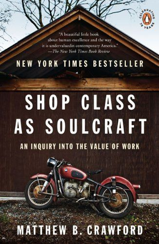 Shop Class as Soulcraft: An Inquiry into the Value of Work by Matthew B. Crawford http://www.amazon.com/dp/0143117467/ref=cm_sw_r_pi_dp_lpxlvb07BAHZ8