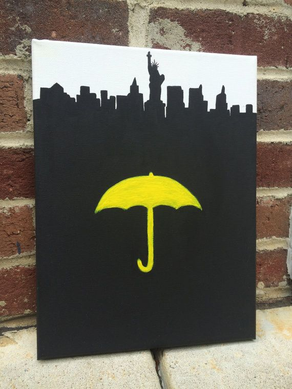 """Yellow Umbrella and NYC Canvas Art 