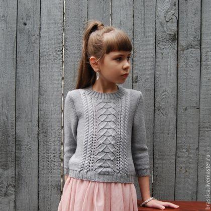 пуловер, пуловер вязаный, пуловер для девочки, пуловер детский, вязание для детей, вязаная детская одежда