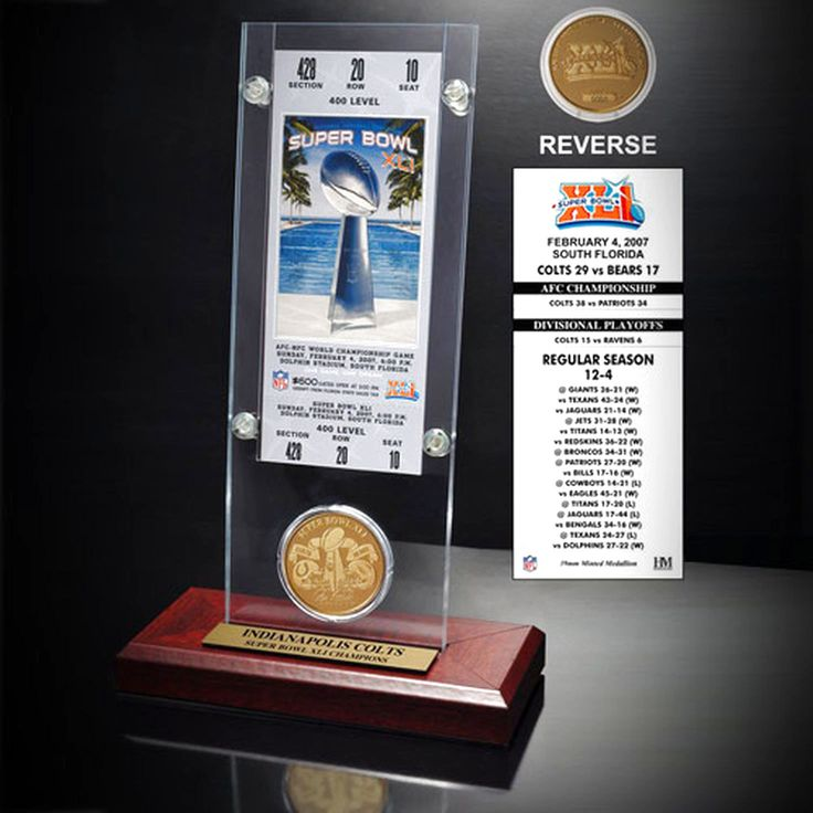 Indianapolis Colts Super Bowl XVI Ticket and Game Coin Acrylic Display - $31.99
