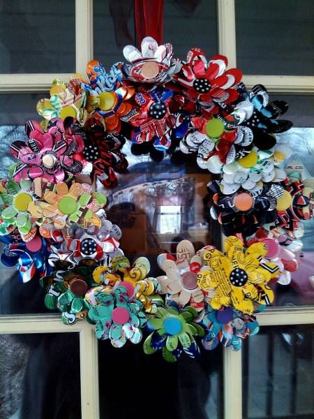 fizzy pop can wreath