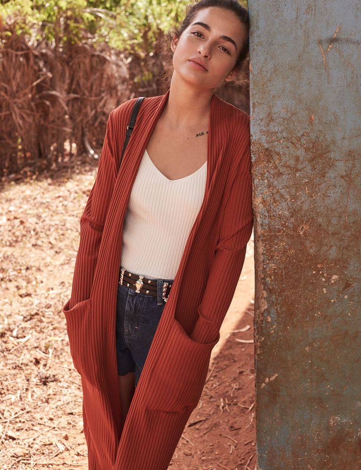 Modern Safari Inspiration, MILAN knit cardigan, MARCO knit top, SHAFT denim shorts & AMINATA leather belt, SS17