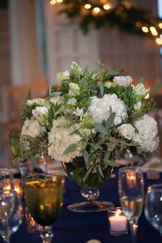 White hydrangeas and seeded eucalyptus centerpieces