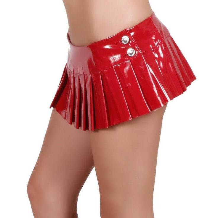 SEXY RED PVC PLEATED MICRO MINI SKIRT NWTS FORPLAY MICRO TINY VINYL MINI SKIRT #Forplay #Pleated