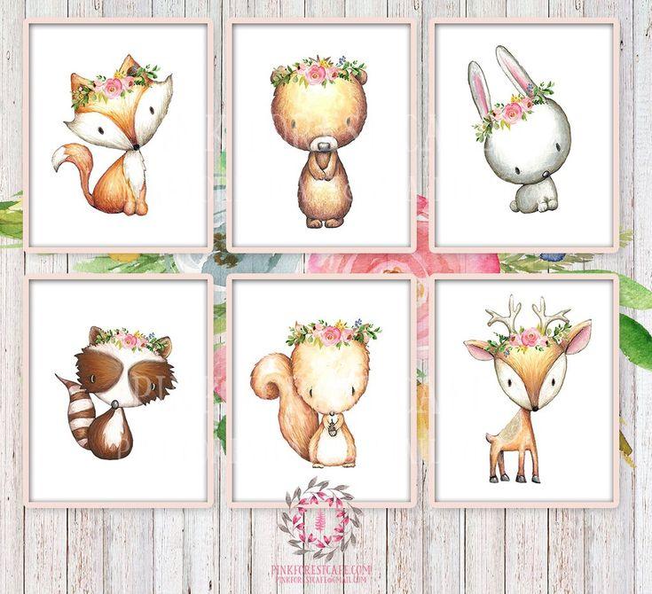 6 Deer Fox Bunny Rabbit Raccoon Bear Squirrel Woodland Wall Art Print Boho Bohemian Floral