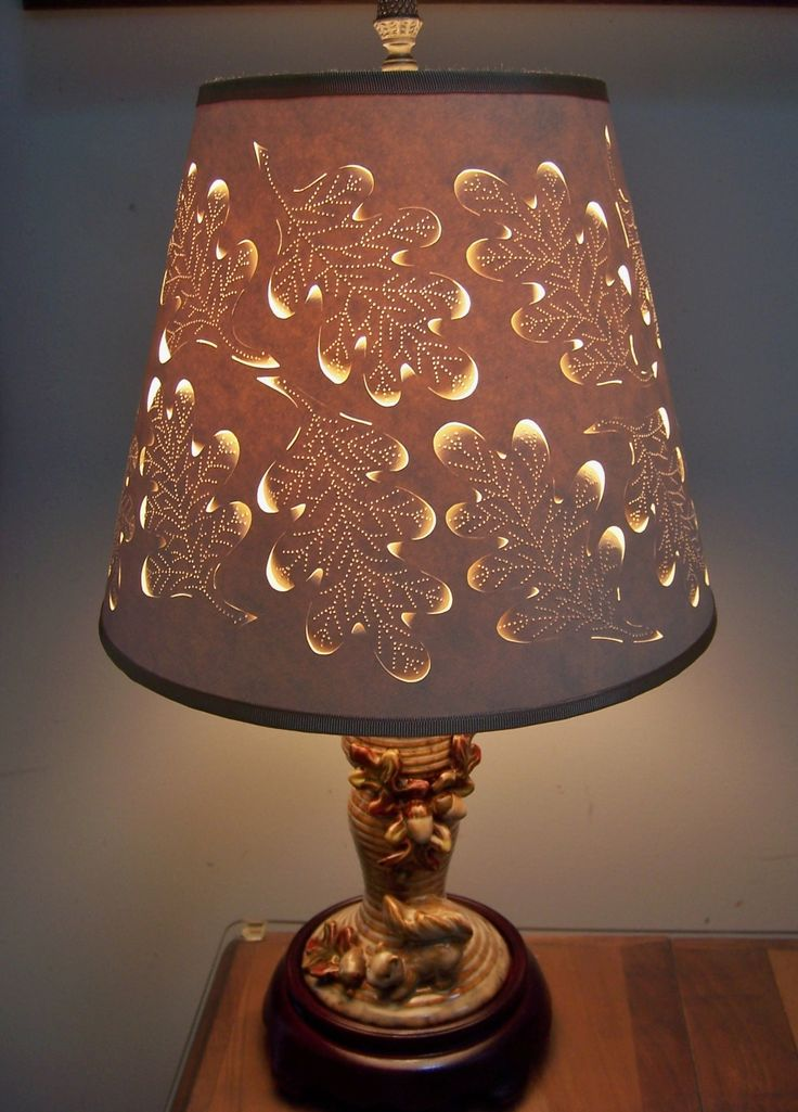 The 90 best lampshades made with love images on pinterest lamp acorn cut pierced lampshade on fall candlestick turned in to lamp will take orders aloadofball Choice Image