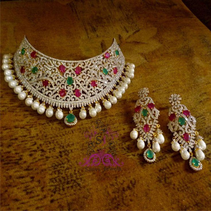 Ruby Green American Diamond Choker MSANV68102509980 - buy Jewellery online from Sanvi Jewels Pvt. Ltd. at CraftsVilla.com